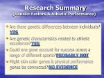 research summary genetic factors athletic performance