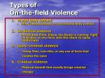 types of on the field violence