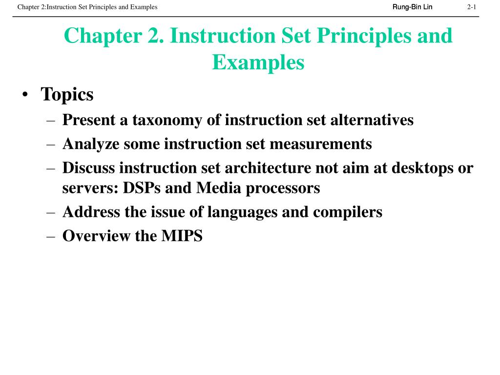 chapter 2 instruction set principles and examples l.