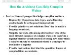 how the architect can help compiler writer