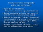 good governance principles for public land concessions