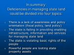 in summary deficiencies in managing state land could be divided into four topics