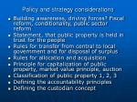 policy and strategy considerations