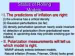 status of rolling models