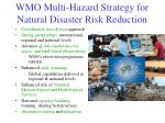 wmo multi hazard strategy for natural disaster risk reduction