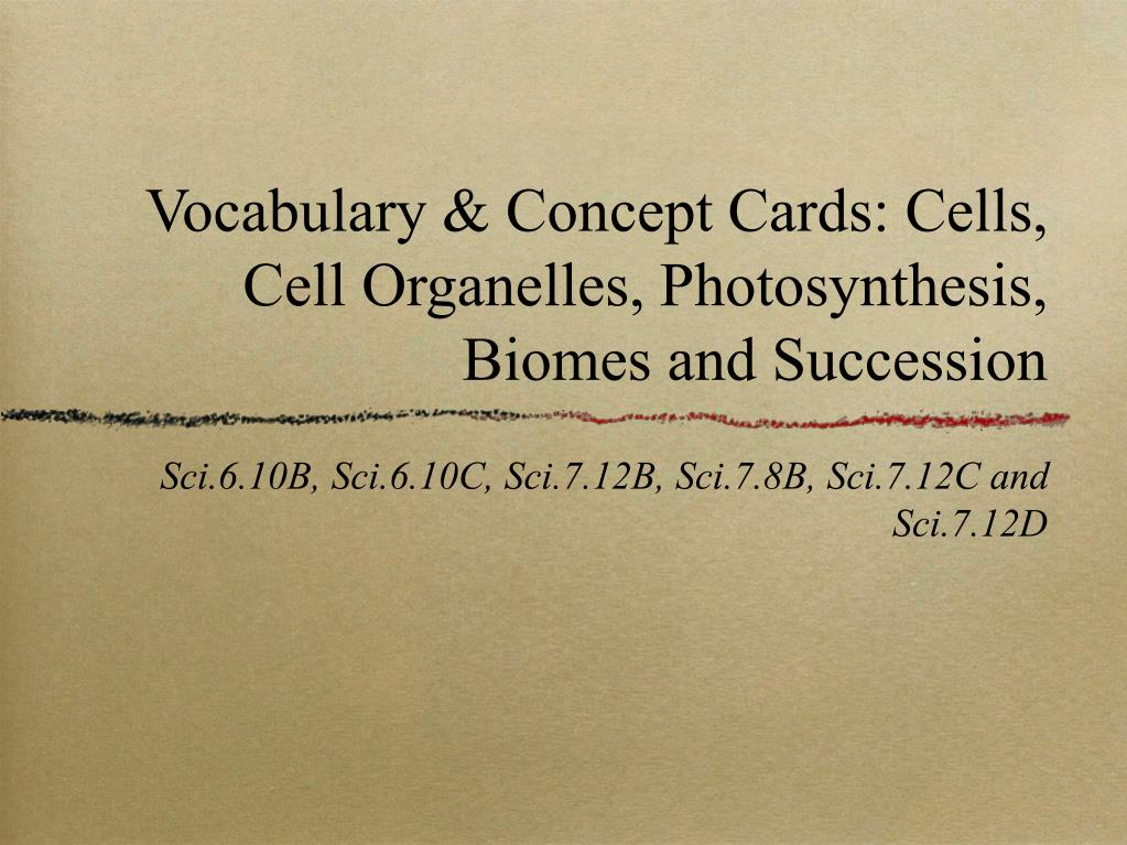 vocabulary concept cards cells cell organelles photosynthesis biomes and succession l.