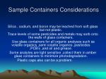 sample containers considerations