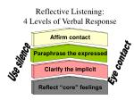 reflective listening 4 levels of verbal response