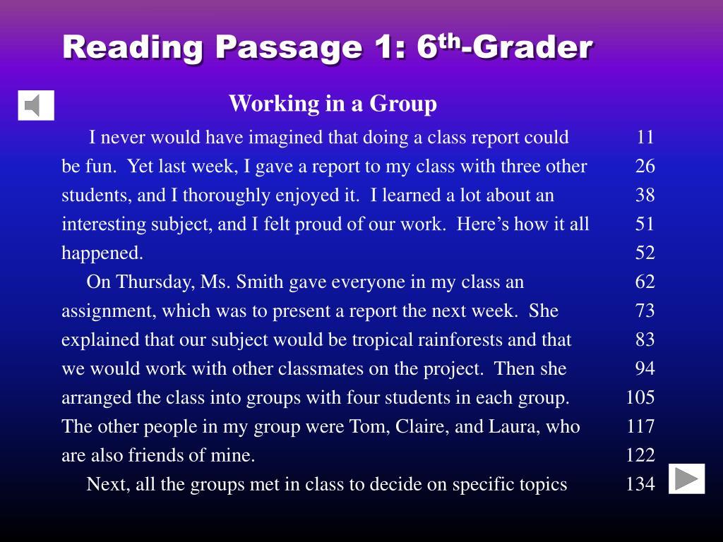 reading passage 1 6 th grader l.