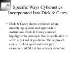 specific ways cybernetics incorporated into dick carey