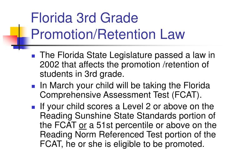florida 3rd grade promotion retention law n.