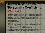 grades won t reflect personality conflicts