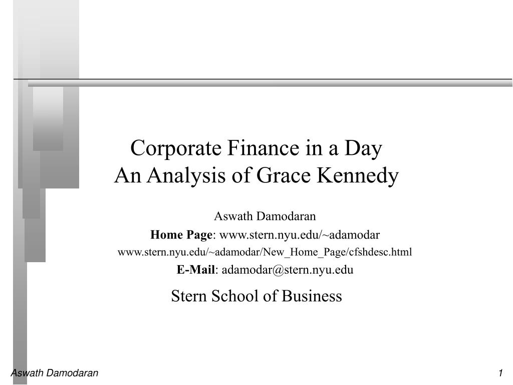 corporate finance in a day an analysis of grace kennedy l.