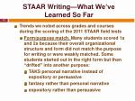 staar writing what we ve learned so far