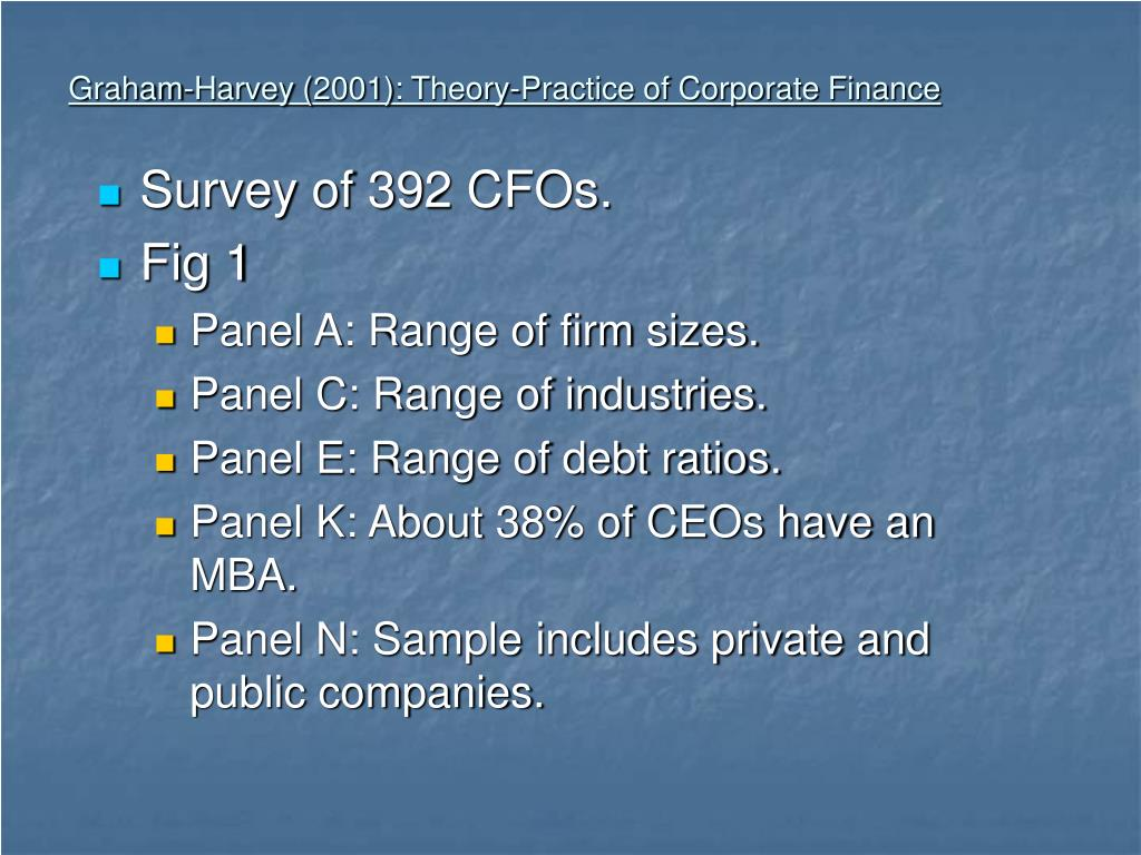 graham harvey 2001 theory practice of corporate finance l.