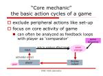 core mechanic the basic action cycles of a game
