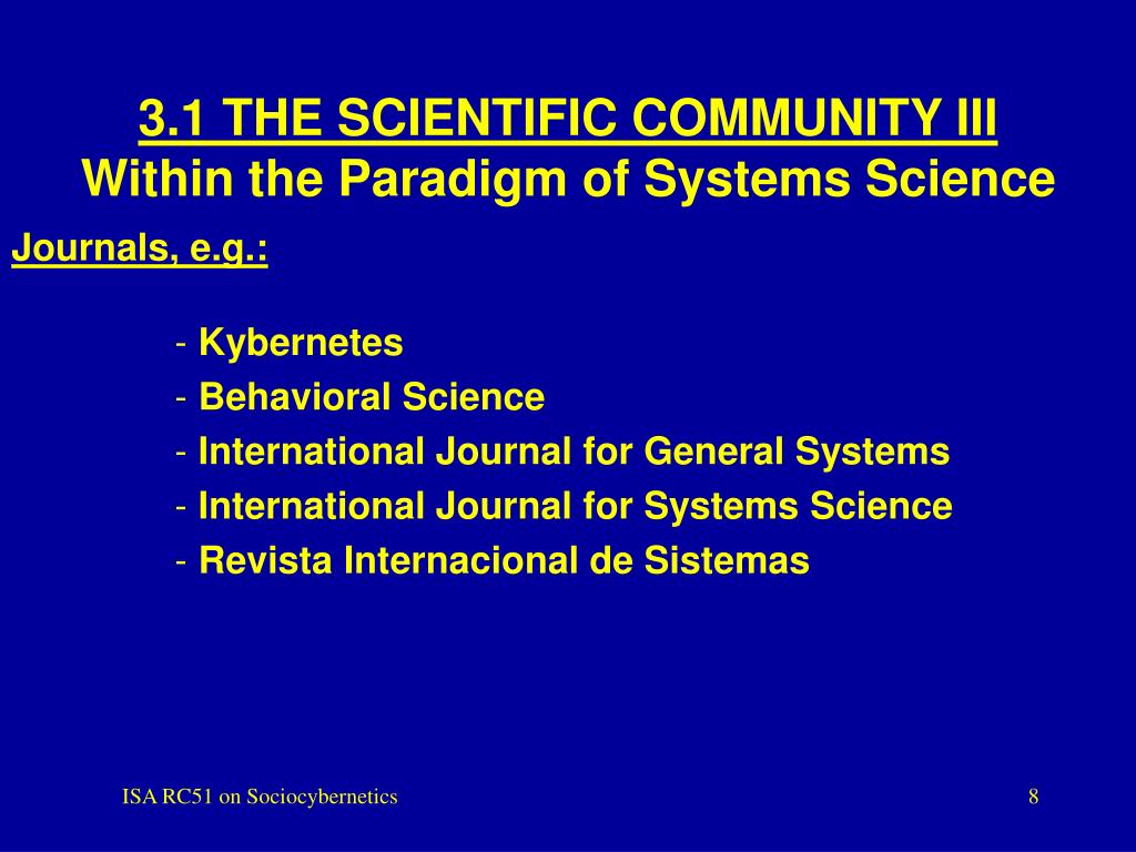 3.1 THE SCIENTIFIC COMMUNITY III