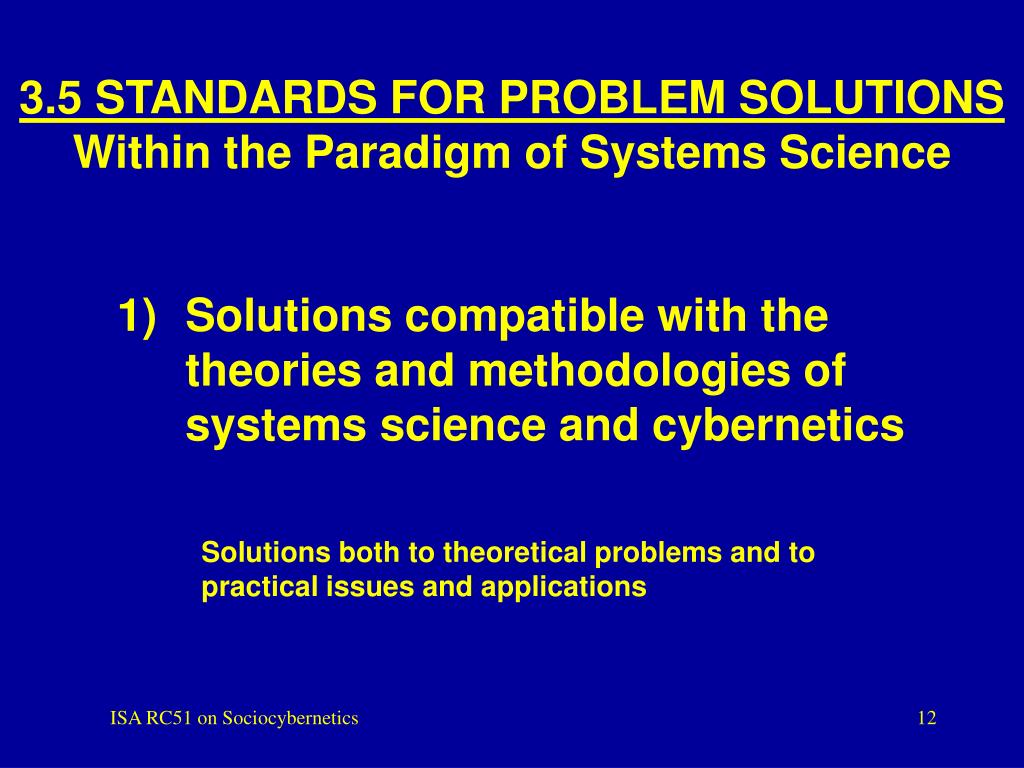3.5 STANDARDS FOR PROBLEM SOLUTIONS