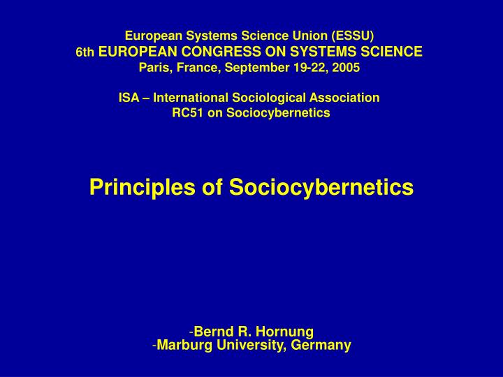 Principles of sociocybernetics