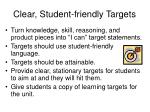 clear student friendly targets