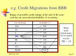 e g credit migrations from bbb