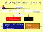 modelling data inputs summary