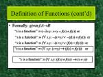 definition of functions cont d