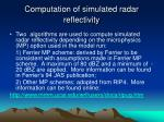 computation of simulated radar reflectivity