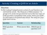 activity creating a qar for an article