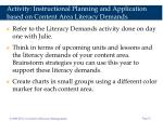 activity instructional planning and application based on content area literacy demands