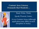 content area literacy demands that students