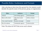 possible roles audiences and formats