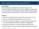 role audience format topic raft
