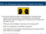 why are strategies important think pair share