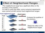 effect of neighborhood ranges