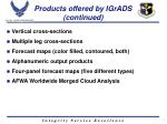 products offered by igrads continued