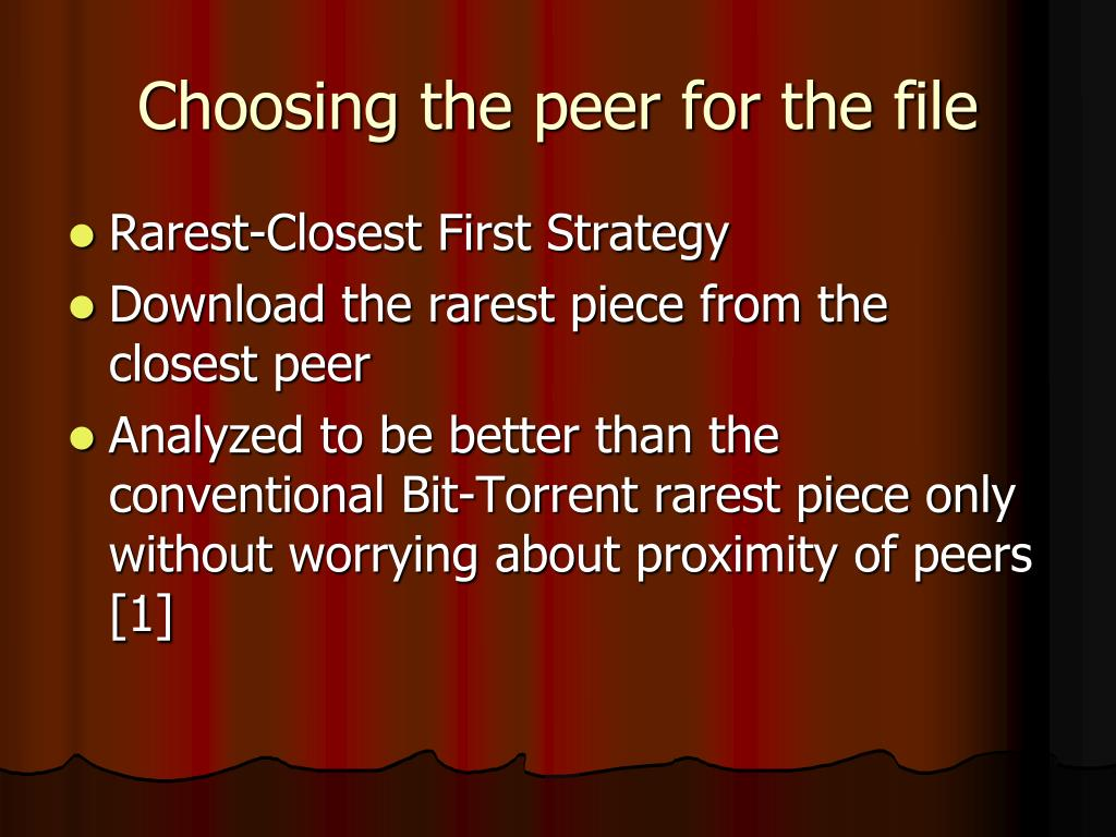 Choosing the peer for the file