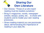 sharing our own literature