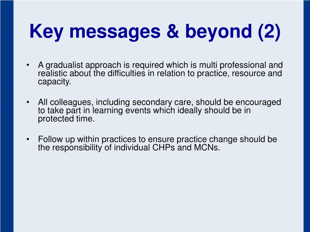 Key messages & beyond (2)