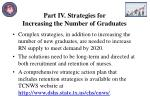 part iv strategies for increasing the number of graduates