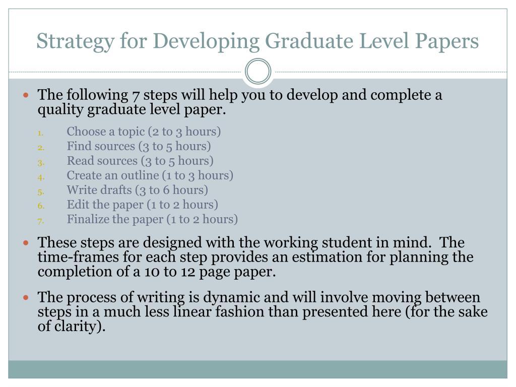 Graduate level essays