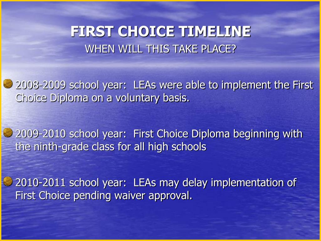 FIRST CHOICE TIMELINE