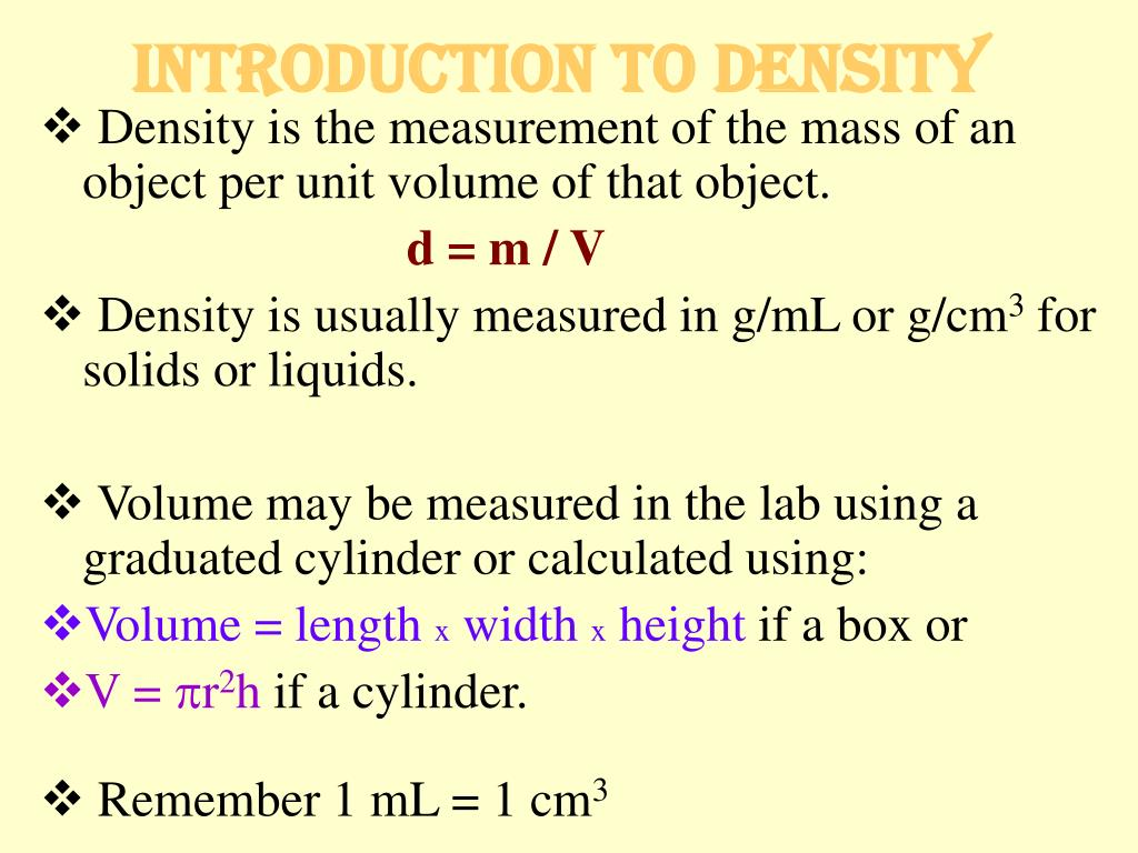 introduction to density l.