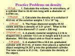 practice problems on density
