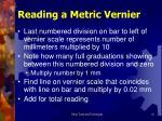 reading a metric vernier