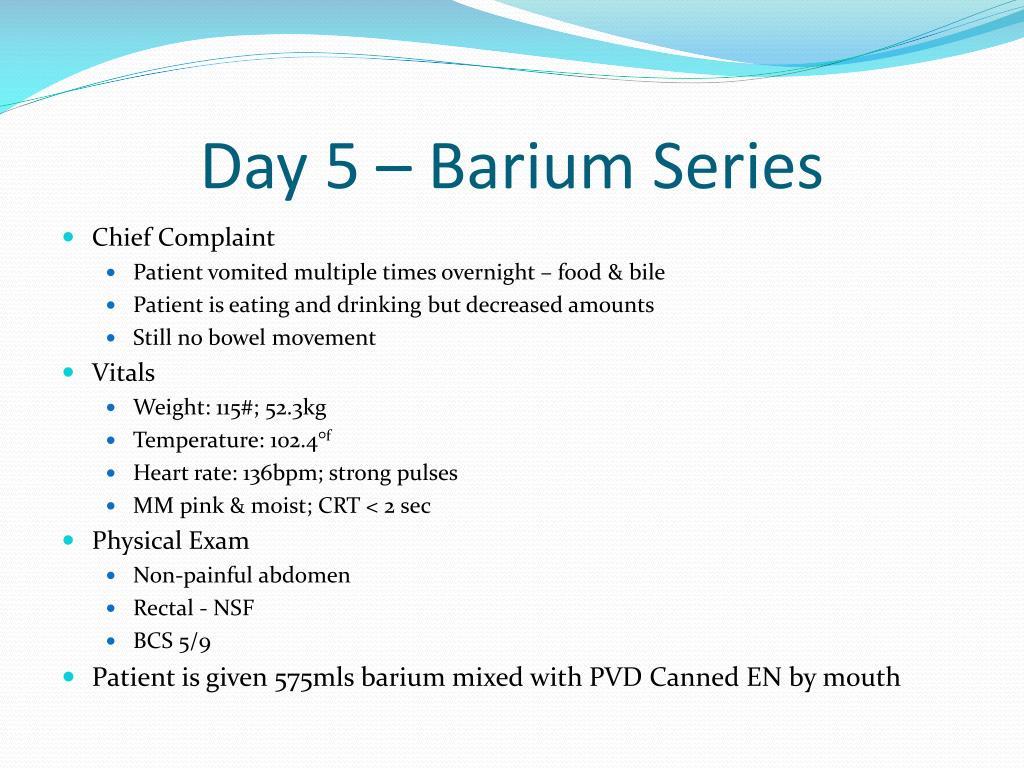 Day 5 – Barium Series