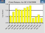 corn futures as of 1 16 2008