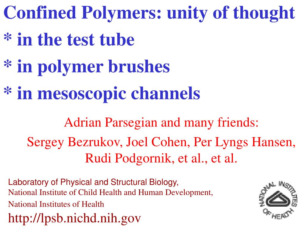 confined polymers unity of thought in the test tube in polymer brushes in mesoscopic channels l.