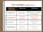 les isotopes applications