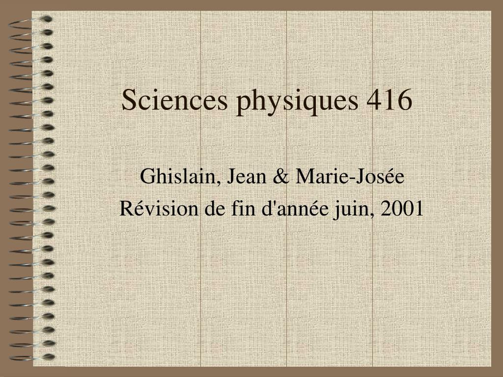 sciences physiques 416 l.